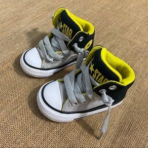 Toddler high top converses size 4 grey/yellow